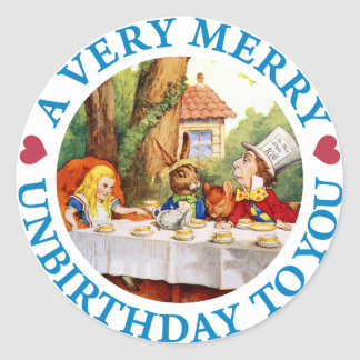 A VERY MERRY UNBIRTHDAY TO YOU ROUND STICKERS