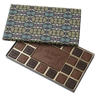 a very nice geometric pattern 45 piece box of chocolates