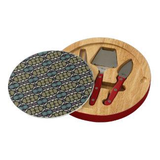 a very nice geometric pattern cheese platter