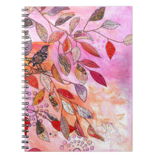 a very pink branch spiral notebook