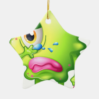 A very sad monster Double-Sided star ceramic christmas ornament
