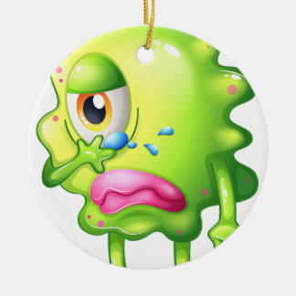 A very sad monster Double-Sided ceramic round christmas ornament