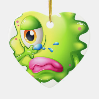 A very sad monster Double-Sided heart ceramic christmas ornament