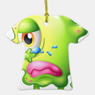 A very sad monster Double-Sided T-Shirt ceramic christmas ornament