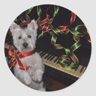 A Very Westie Christmas Classic Round Sticker