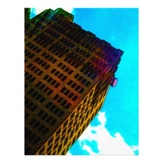 A vibrant and tall building against the  blue sky personalized letterhead