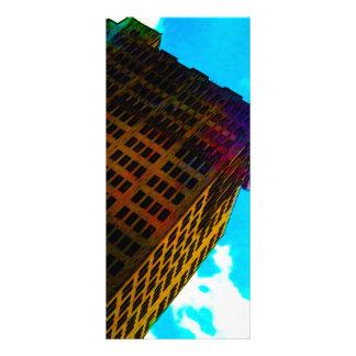 A vibrant and tall building against the  blue sky rack card design