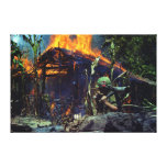 A Viet Cong Base Camp Being Burned in Vietnam War Stretched Canvas Print