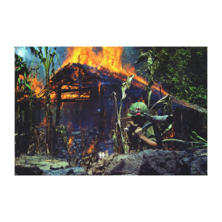 A Viet Cong Base Camp Being Burned in Vietnam War Canvas Print