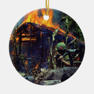 A Viet Cong Base Camp Being Burned in Vietnam War Double-Sided Ceramic Round Christmas Ornament