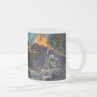 A Viet Cong Base Camp Being Burned in Vietnam War Frosted Glass Coffee Mug