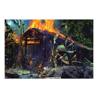 A Viet Cong Base Camp Being Burned in Vietnam War Photo Art