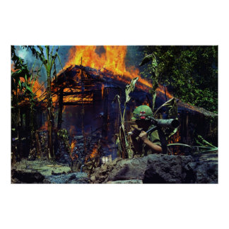 A Viet Cong Base Camp Being Burned in Vietnam War Poster