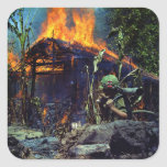 A Viet Cong Base Camp Being Burned in Vietnam War Square Sticker
