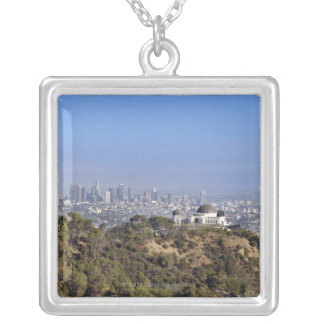 A view from a hiking trail in Griffith Park Silver Plated Necklace