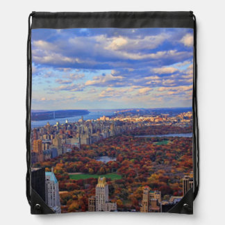 A view from above: Autumn in Central Park 01 Drawstring Backpack