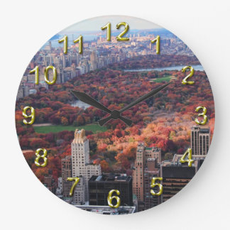 A view from above: Autumn in Central Park 01 Large Clock