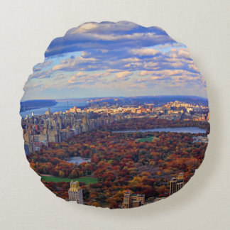 A view from above: Autumn in Central Park 01 Round Pillow