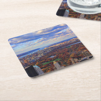 A view from above: Autumn in Central Park 01 Square Paper Coaster
