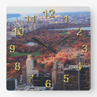A view from above: Autumn in Central Park 01 Square Wall Clock