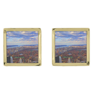 A view from above: Autumn in Central Park 01 Gold Finish Cufflinks
