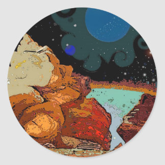 A view from Planet  Avior 7 Classic Round Sticker