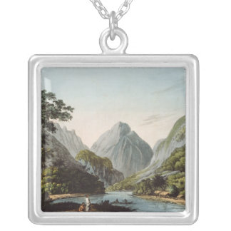 A View in Oheitepha Bay on the Island of Silver Plated Necklace