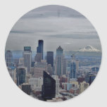 A view in seatle round sticker