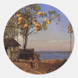 A view in the Bahamas - Albert Bierstadt Classic Round Sticker