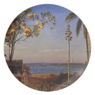 A View in the Bahamas by Bierstadt Albert. Melamine Plate