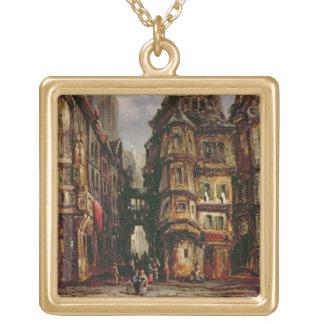 A View in the Jewish Quarter, Frankfurt, 1877 (oil Square Pendant Necklace