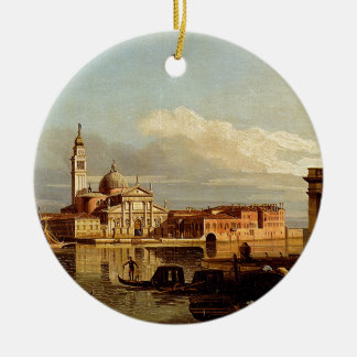A View In Venice From The Punta Della Dogana Towar Double-Sided Ceramic Round Christmas Ornament