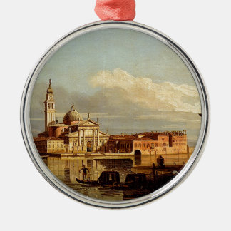 A View In Venice From The Punta Della Dogana Towar Round Metal Christmas Ornament