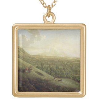 A View of Boxhill, Surrey, with Dorking in the Dis Square Pendant Necklace