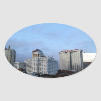 A View of Casinos in Atlantic City Oval Sticker