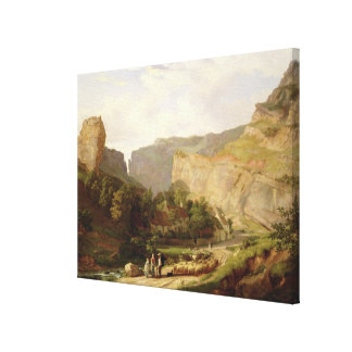A View of Cheddar Gorge (oil on canvas) Canvas Print