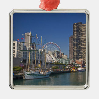 A view of Chicago's Navy Pier 2 Square Metal Christmas Ornament