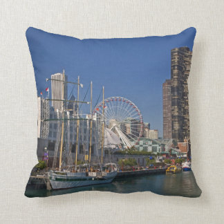 A view of Chicago's Navy Pier 2 Throw Pillow