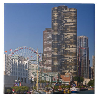 A view of Chicago's Navy Pier Large Square Tile