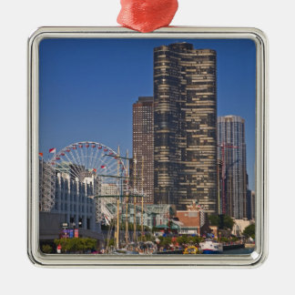 A view of Chicago's Navy Pier Square Metal Christmas Ornament