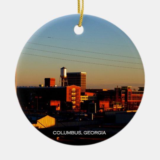A view of Columbus, GA taken from Phenix City, AL Ceramic Ornament
