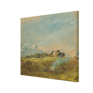 A View of Hampstead Heath, with figures round a bo Stretched Canvas Print