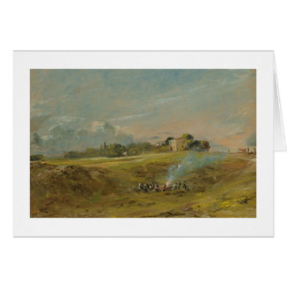 A View of Hampstead Heath, with figures round a bo Card