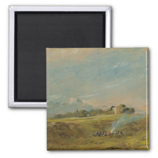 A View of Hampstead Heath, with figures round a bo Magnet