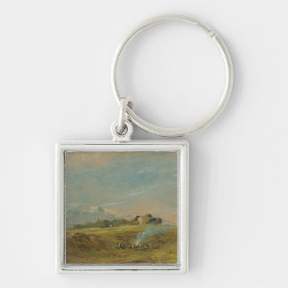 A View of Hampstead Heath, with figures round a bo Silver-Colored Square Keychain