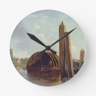 A View of Lambeth (oil on panel) Round Clock