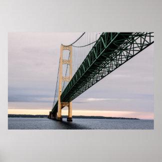 A view of Mackinac Bridge from Lake Michigan Poster