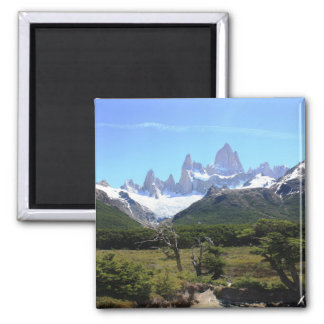 A View Of Mount Fitz Roy 2 Inch Square Magnet