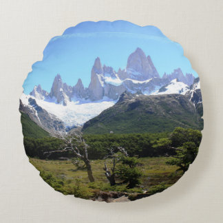 A View Of Mount Fitz Roy Round Pillow