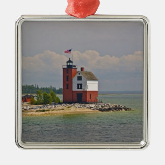 A view of Round Island Light Station. Square Metal Christmas Ornament